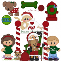 Pet Pictures With Santa SVG Cutting Files Includes Clipart