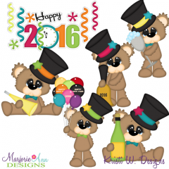 Bubbles The Bear New Year 2016 SVG Cutting Files + Clipart
