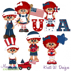 Amerian Raggedies SVG Cutting Files Includes Clipart