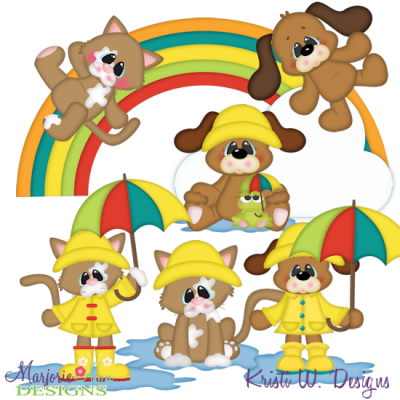 It's Raining Cats & Dogs SVG Cutting Files Includes Clipart