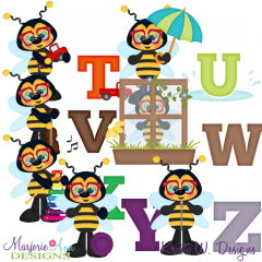 Busy Bees Alphaet T-Z SVG Cutting Files + Clipart