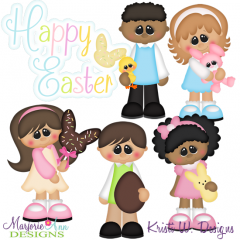 Easter Kids SVG Cutting Files + Clipart
