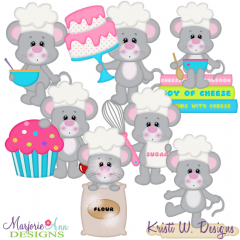 Baking Mice SVG Cutting Files + Clipart