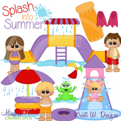 Fun At The Water Park SVG Cutting Files Includes Clipart