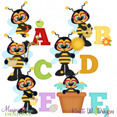 Busy Bees Alphaet A-F SVG Cutting Files + Clipart