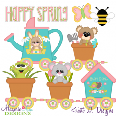 Happy Spring Train SVG Cutting Files + Clipart
