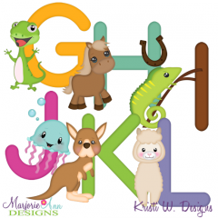 Animal Alphabet G-L SVG Cutting Files Includes Clipart