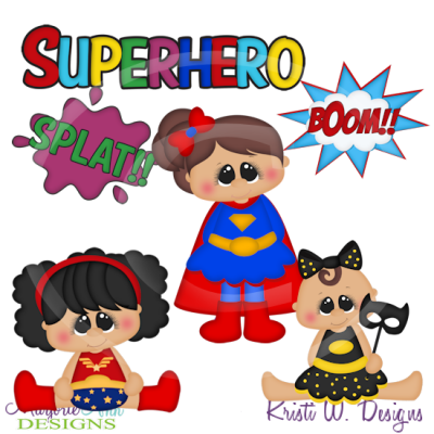 Super Chubbies Super Heros/Girls Cutting Files-Includes Clipart