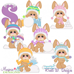 Snow Bunny Winter Fun SVG Cutting Files Includes Clipart