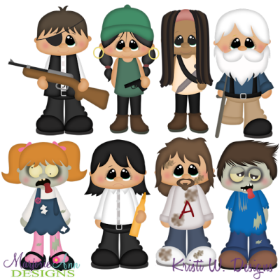 The Walking Cute Set 3 Exclusive SVG Cutting Files + Clipart