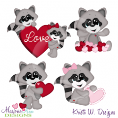 Valentine Racoons Cutting Files Includes Clipart