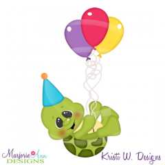 Birthday Turtle SVG Cutting Files Includes Clipart