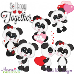 Panda Love SVG Cutting Files Includes Clipart