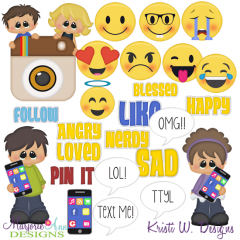 Social Media Kids SVG Cutting Files + Clipart