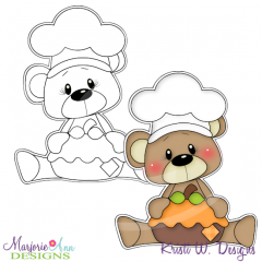 Pumpkin Spice Bear 1 Digital Stamp + Clipart