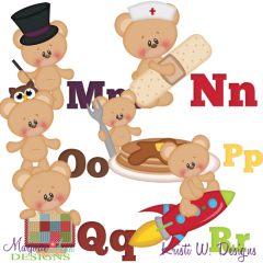 Alphabet Bears M-R SVG Cutting Files Includes Clipart