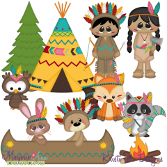Native Friends SVG Cutting Files Includes Clipart