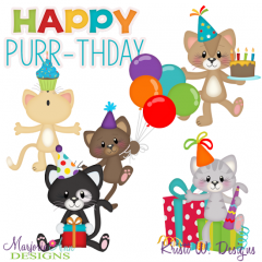 Happy Purrr-thday SVG Cutting Files Includes Clipart