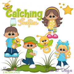 Catching Fireflies SVG Cutting Files Includes Clipart