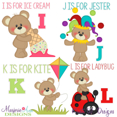 Patches The Bear Alphabet I-L SVG Cutting Files + Clipart