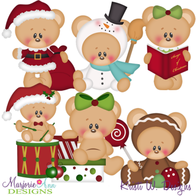 12 Bears Of Christmas-Set 1 SVG Cutting Files Includes Clipart