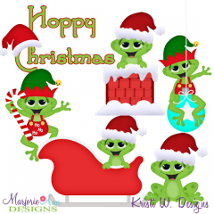 Hoppy Christmas SVG Cutting Files + Clipart