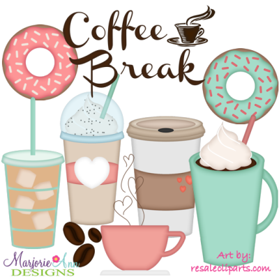 Coffee Break EXCLUSIVE SVG Cutting Files Includes Clipart