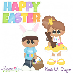 Holiday Kids~Easter SVG Cutting Files Includes Clipart