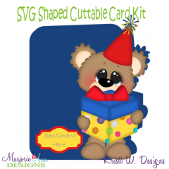 Birthday Bear & Gift~Shaped SVG/MTC Card Kit/Cutting File
