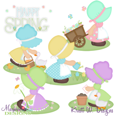 Spring Bonnet Girls SVG Cutting Files + Clipart