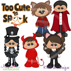 Too Cute To Spook SVG Cutting Files Includes Clipart