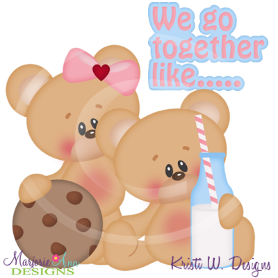 We Go Together Like Milk & Cookies SVG Cutting Files+Clipart