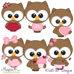 Valentine Owls SVG Cutting Files + Clipart