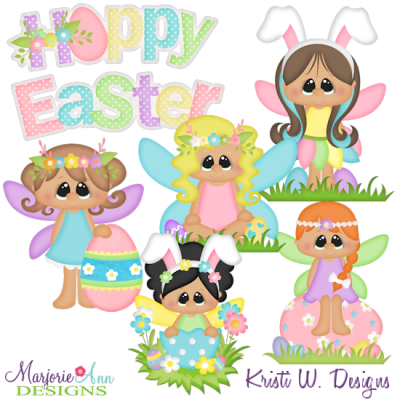 Easter Fairies SVG Cutting Files + Clipart