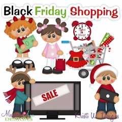 Black Friday Shopping SVG Cutting Files Includes Clipart