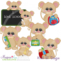Back To School Mice SVG Cutting Files Includes Clipart