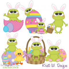 Easter Frolic Frogs SVG Cutting Files Includes Clipart