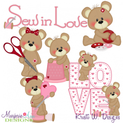 Sew In Love With You SVG Cutting Files + Clipart