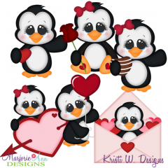 Valentine Penguins SVG Cutting Files Includes Clipart