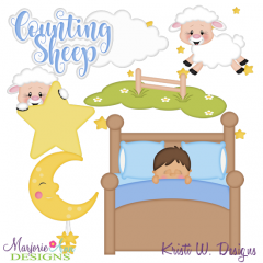 Counting Sheep-Boy Exclusive SVG Cutting Files + Clipart
