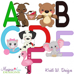 Animal Alphabet A-F SVG Cutting Files Includes Clipart
