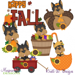 Fall Yorkies SVG Cutting Files + Clipart