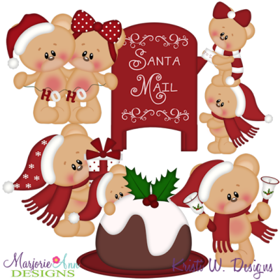 Christmas Bears SVG Cutting Files Includes Clipart