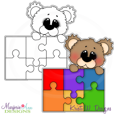 Autism Bear 1 Digital Stamp + Clipart