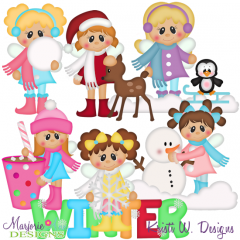 Winter Fairies 2 SVG Cutting Files Includes Clipart