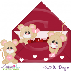 Sweet Valentine Mice Cutting Files Includes Clipart