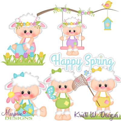 Little Lambs Spring SVG Cutting Files + Clipart