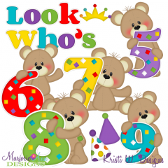Patches The Bear Birthday Numbers 5-9 SVG Cutting Files+Clipart
