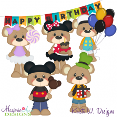Magical Birthday Bears SVG Cutting Files Includes Clipart