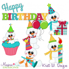 Frosty's Birthday SVG Cutting Files Includes Clipart